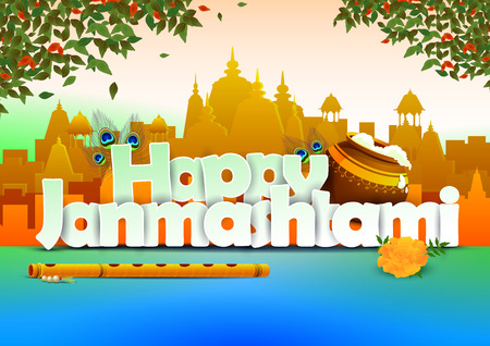 lord krishna: Happy Janmashtami wallpaper background Illustration