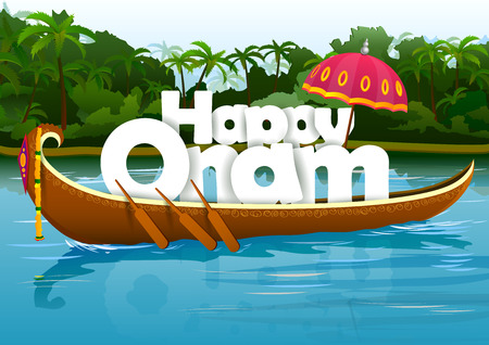 kerala culture: Happy Onam wallpaper background Illustration