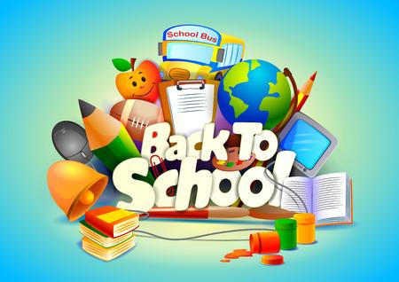 transporte escolar: Volver a la Escuela de papel tapiz de fondo Vectores