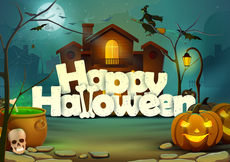 horror house: Happy Halloween wallpaper background