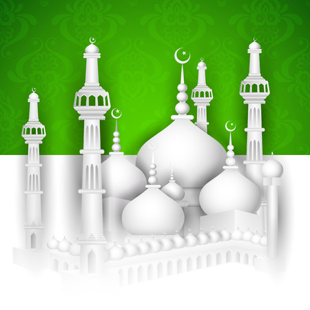 mosque illustration: vector illustration of Eid Mubarak ( Blessing for Eid) background with Islamic mosque Illustration
