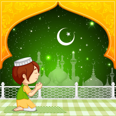 ramzan: ilustraci�n vectorial de musulmanes oferta namaaz para Chand Raat Mubarak (Tener una noche bendita de la luna nueva) Vectores