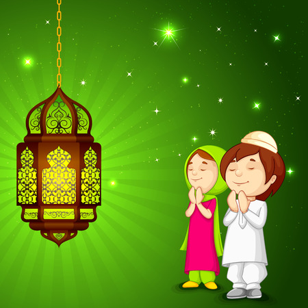 offering: vector illustration of muslim kids offering namaaz for Eid with Subhan Allah(Glorious is God) Illustration