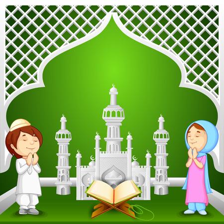 vector illustration of muslim kids offering namaaz for Eid-ul-fitr (Feast of Breaking the Fast)