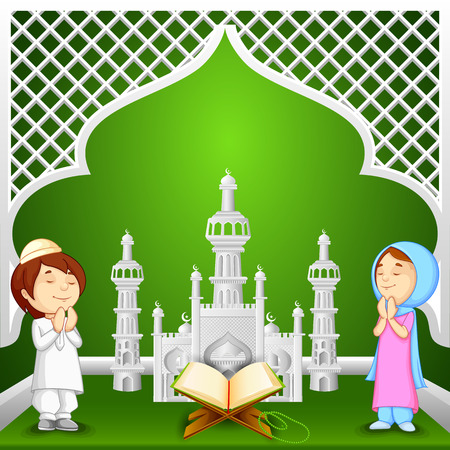 offering: vector illustration of muslim kids offering namaaz for Eid-ul-fitr (Feast of Breaking the Fast)