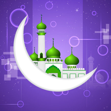 occassion: vector illustration of Ramadan Kareem ( Happy Ramadan) background with moon and Islamic mosque