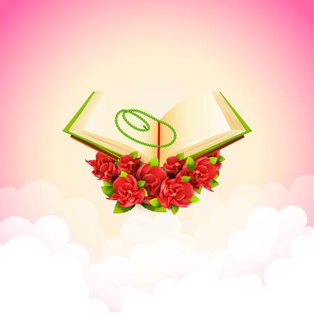 kuran: vector illustration of Quran on Eid Mubarak background Illustration