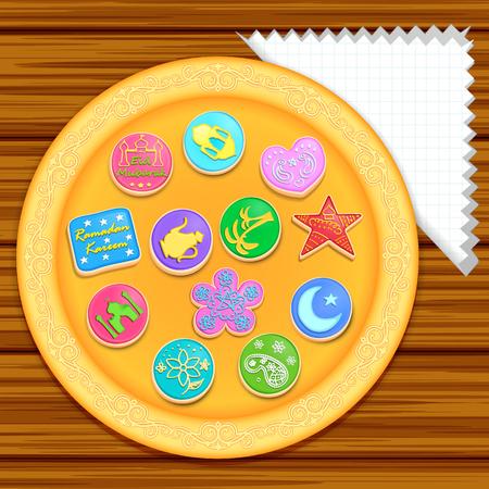 illustration of cookies for Eid Mubarak ( Blessing for Eid)