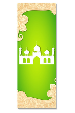 vector illustration of Eid Mubarak ( Blessing for Eid) background with Islamic mosque Illustration
