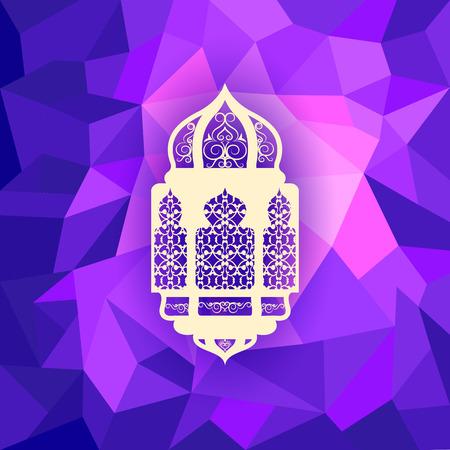 vector illustration of illuminated lamp for Eid Mubarak (Blessing for Eid) background