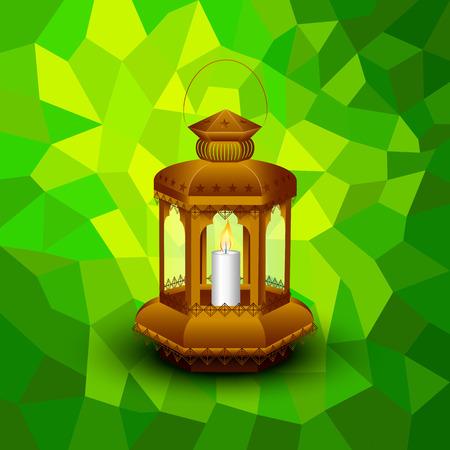 ramzan: vector illustration of illuminated lamp for Eid Mubarak (Blessing for Eid) background
