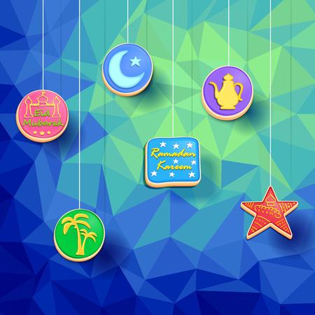 garnished: illustration of cookies for Eid Mubarak ( Blessing for Eid)