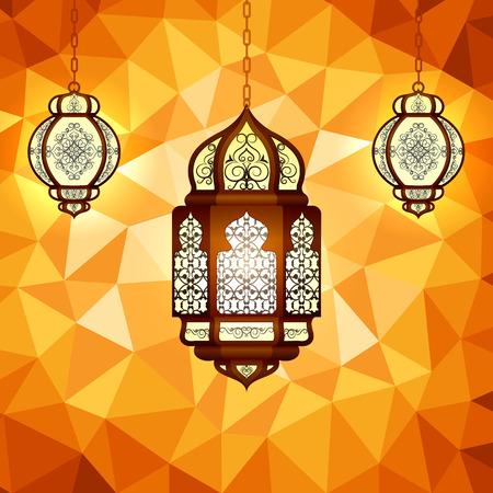 ramzan: vector illustration of illuminated lamp for Ramadan Kareem ( Happy Ramadan) background