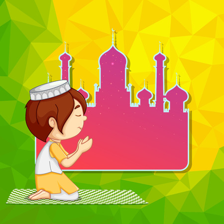 offering: vector illustration of muslim offering namaaz for Eid ul Adha (Festival of the sacrifice)