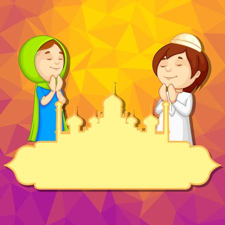 ramzan: ilustraci�n vectorial de los ni�os musulmanes que ofrecen namaaz para el Ramad�n Kareem (feliz Ramad�n)