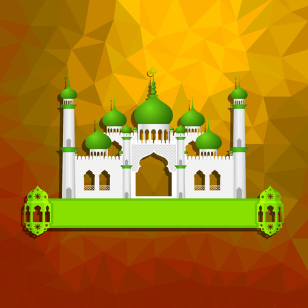 mosque illustration: vector illustration of Eid ul Adha (Festival of the sacrifice) background with Islamic mosque
