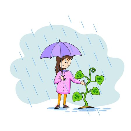 downpour: illustration of Monsoon sale offer Illustration