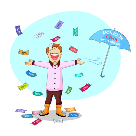 monsoon: illustration of Monsoon sale offer Illustration