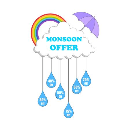 rainwater: illustration of Monsoon sale offer Illustration