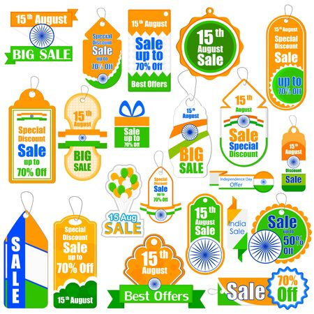promotional: illustration of promotional and advertisement sale tag for Independence Day of India