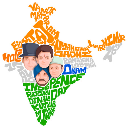christian young: illustration of Indian people of different culture standing together, Unity in Diversity Illustration