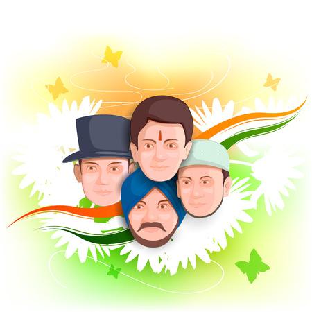 diversidad: ilustración de los indios de la cultura diferente de pie juntos, Unidad en la Diversidad Vectores