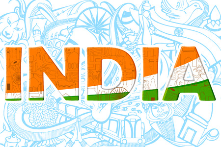26th: illustration of colorful doodle on India concept