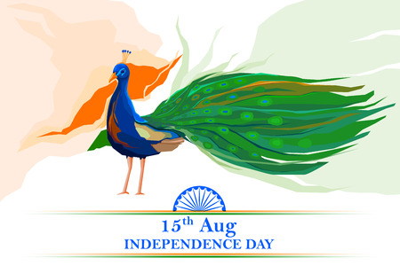 ashok: illustration of Indian flag colored decorated peacock