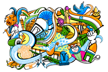 august: illustration of colorful doodle on India concept