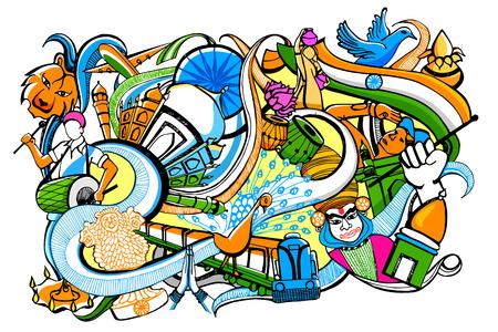 independencia: ilustración de colorido garabato en la India concepto