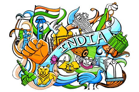 concept: illustrazione del doodle colorato su India concetto Vettoriali