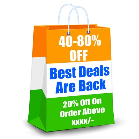 august: illustration of promotional and advertisement sale tag for Independence Day of India