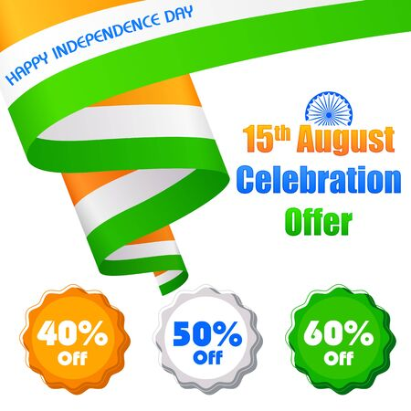 sale tag: illustration of promotional and advertisement sale tag for Independence Day of India