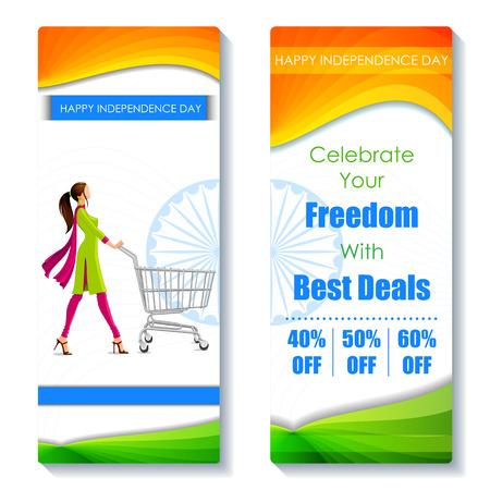 independencia: ilustraci�n de promoci�n y publicidad etiqueta de venta para el D�a de la Independencia de la India Vectores