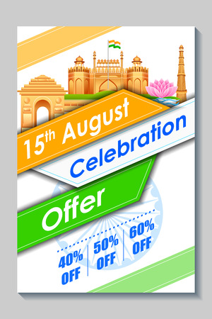 26th: illustration of promotional and advertisement sale tag for Independence Day of India