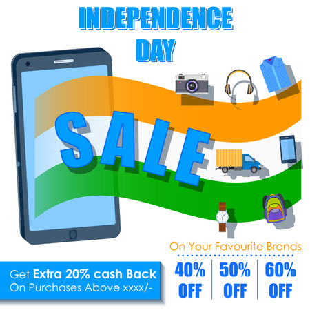 26th: illustration of Independence Day of India sale offer in mobile application
