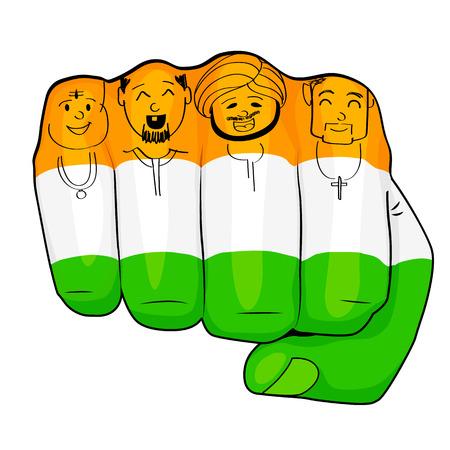 bandera de la india: ilustración de los indios de la cultura diferente de pie juntos, Unidad en la Diversidad Vectores