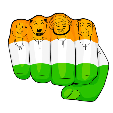 illustration of Indian people of different culture standing together, Unity in Diversity Illustration