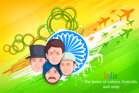 culture: illustration of Indian people of different culture standing together, Unity in Diversity Illustration