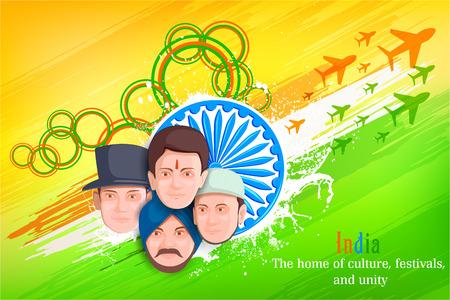 diversidad cultural: ilustración de los indios de la cultura diferente de pie juntos, Unidad en la Diversidad Vectores