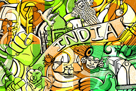 asoka: illustration of colorful doodle on India concept