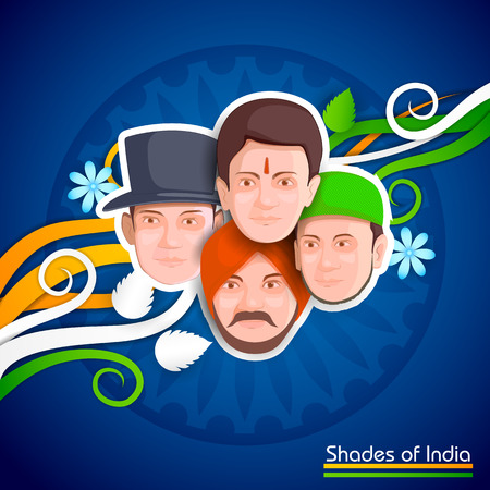 26th: illustration of Indian people of different culture standing together, Unity in Diversity Illustration