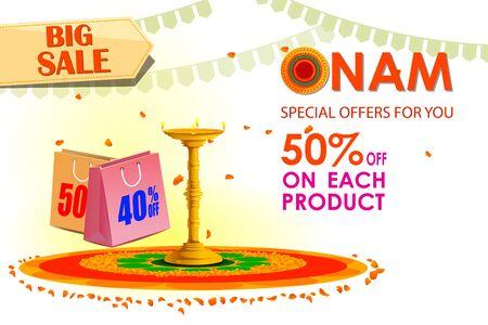 big sale: vector illustration of Happy Onam big sale Illustration