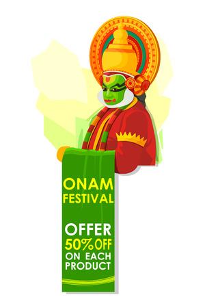 kathakali: vector illustration of Happy Onam big sale Illustration