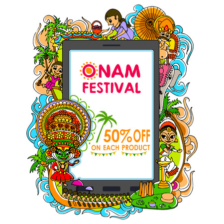 kerala culture: vector illustration of Happy Onam big sale Illustration