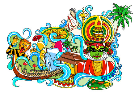 kerala culture: vector illustration of Happy Onam