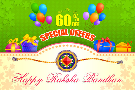 raksha: vector illustration of decorated rakhi with gift for Raksha Bandhan Sale Illustration