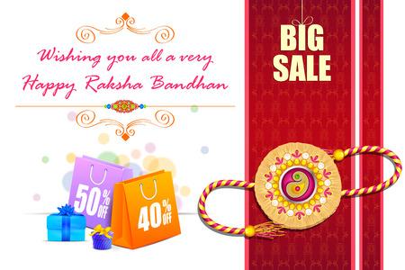 wristband: vector illustration of decorated rakhi with gift for Raksha Bandhan Sale Illustration