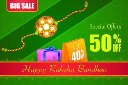 rakhi: vector illustration of decorated rakhi with gift for Raksha Bandhan Sale Illustration