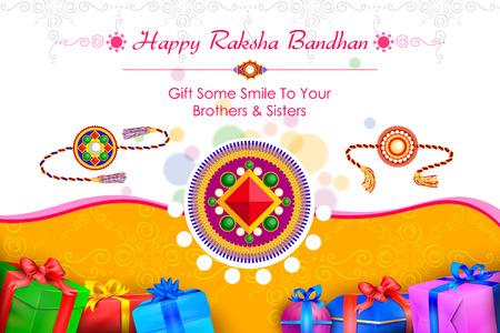 raksha bandhan: vector illustration of decorated rakhi with gift for Raksha Bandhan Sale Illustration